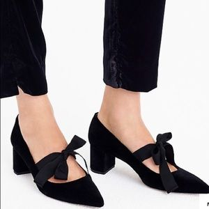 Jcrew Avery velvet pumps with bow